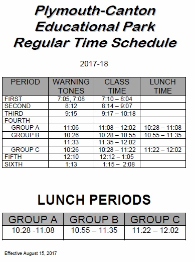 time schedules