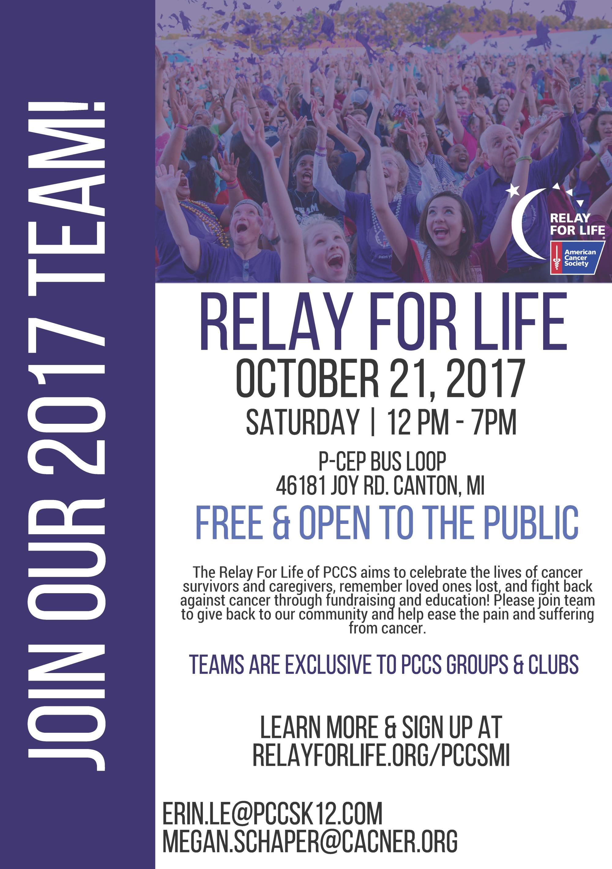 Relay For Life October 21 from 12-7 p.m. at P-CEP Bus Loop