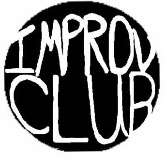 Improv club logo - black circle white letters