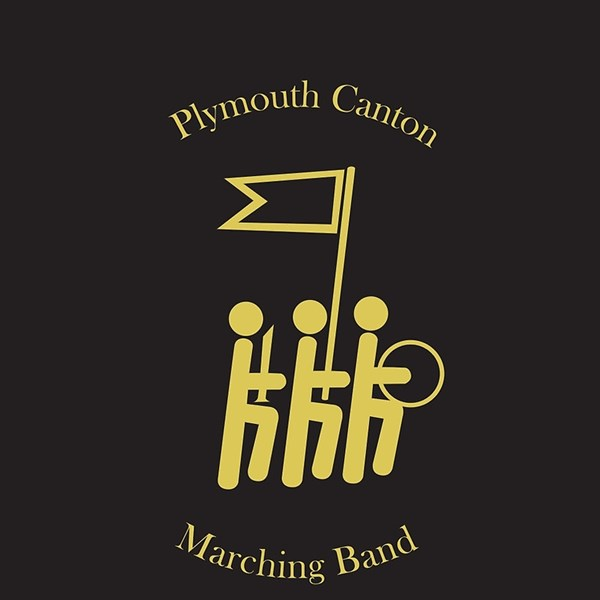 Marching band logo gold on black