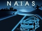 NIAS award winning poster blue outlines on black of car and road
