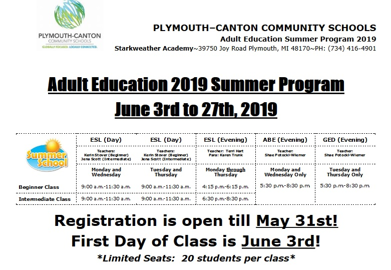 Adult Education 2019-Starkweather flyer