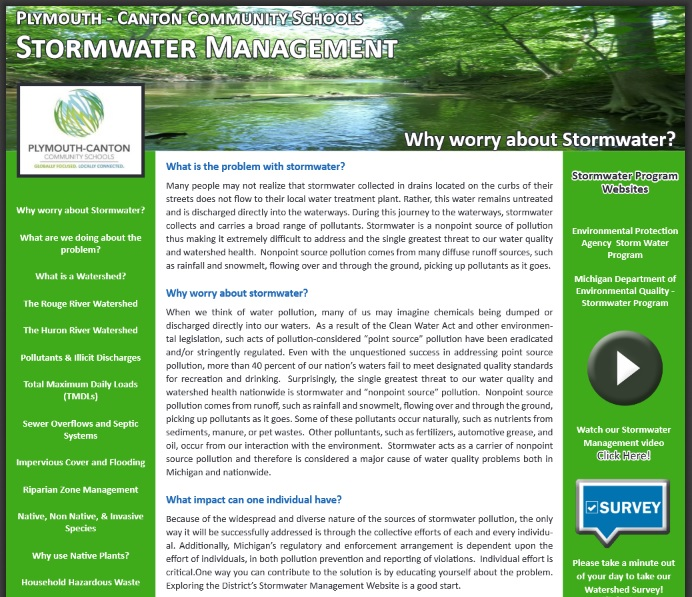 Stormwater Management Portal | Plymouth-Canton Community Schools