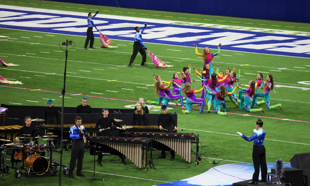 timpani and colorguard performing