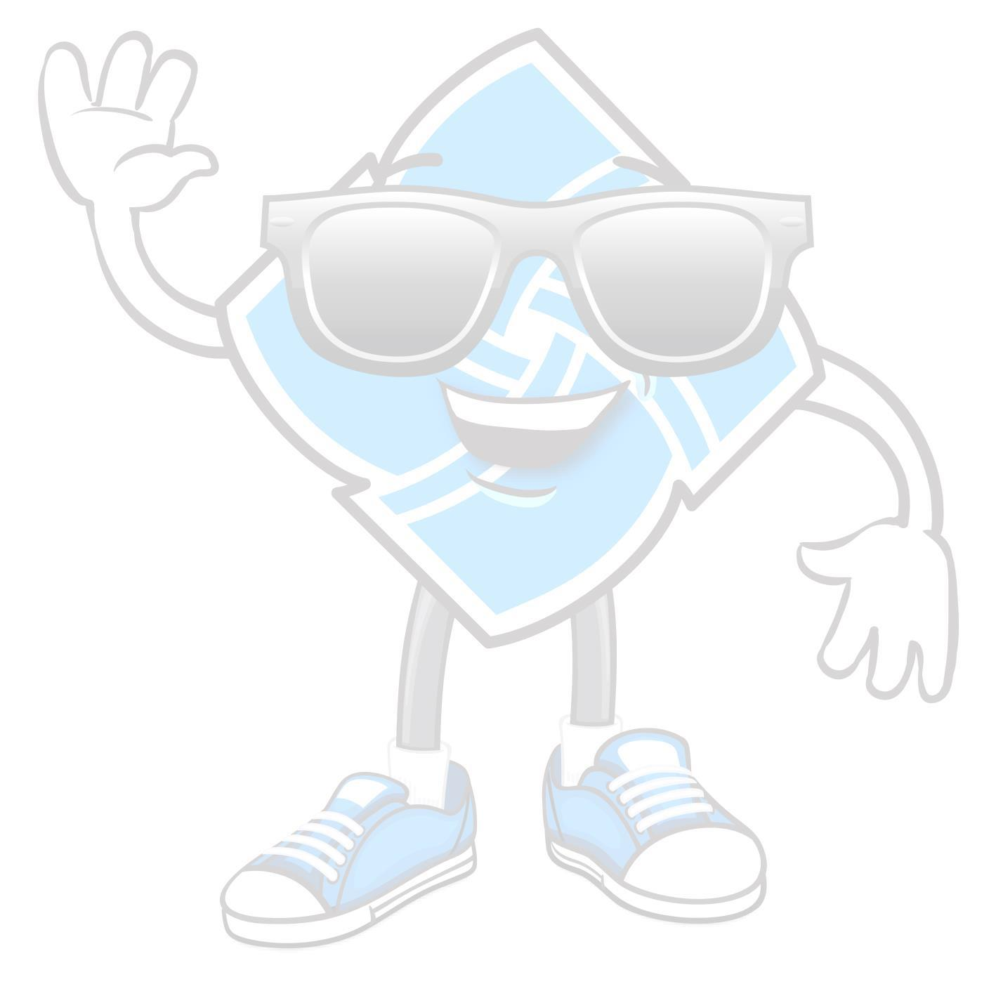 smiling waving credit union logo with sunglasses