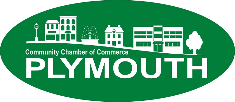 Plymouth Chamber Logo White on Green 3-13-15